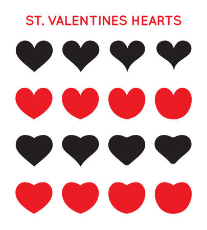 Grungy Vector Hand Draw Hearts. Valentin's Day Symbol. Vectores