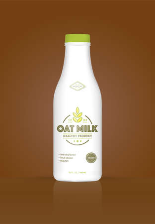 Oat Milk Oatmeal Bottle with Colorful Background. Healthy Organic Product. Vector illustration. Advertising Template. Print Vectores