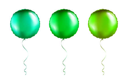 Set of Green Round Shaped foil balloons on transparent white background. Party Balloons event design decoration. Mockup for balloon print. Vector. Vectores