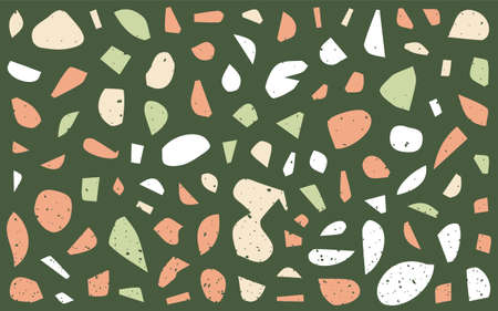 Terrazzo Seamless Pattern. Granite Fragments. Abstract Backdrop. Stones and Rocks Texture. Marble Textile, Tile Design. Vector.
