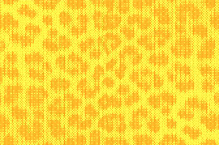 Leopard pixel art style stains pattern design. Dotted Vector Illustration Background. Animal Fur. Brown, orange, yellow.