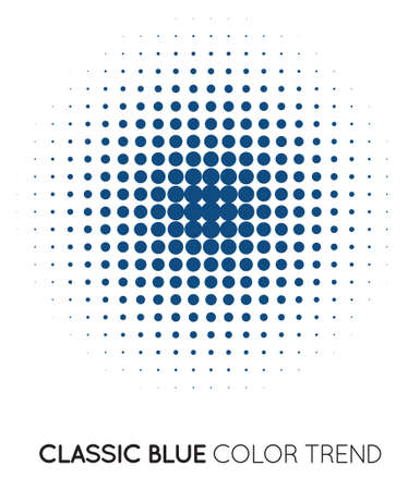 Classic Blue Trendy Color Circle in Halftone. Halftone Dot Pattern, Vector Illustration.