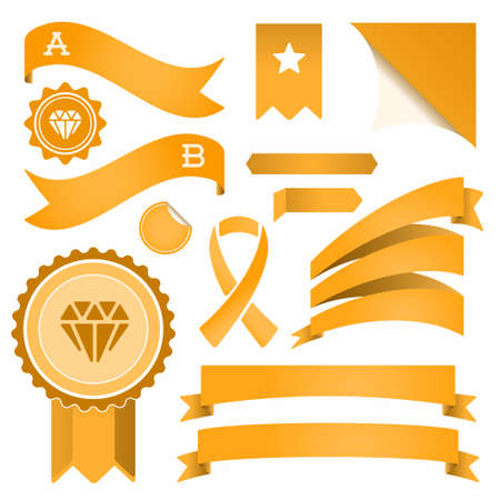 Set of Ribbons and Labels. Vector. Retro and Vintage. Vectores