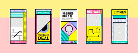 Stories Template Set in Memphis Retro Style. Background Banner Template. Landing Page, Mobile App, Poster, Smartphone Template. Vector. Vectores