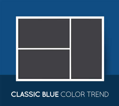 Classic Blue Trendy Color Horizontal Collage Layout Template. Frames for Photo or Illustration. Vector. Vectores