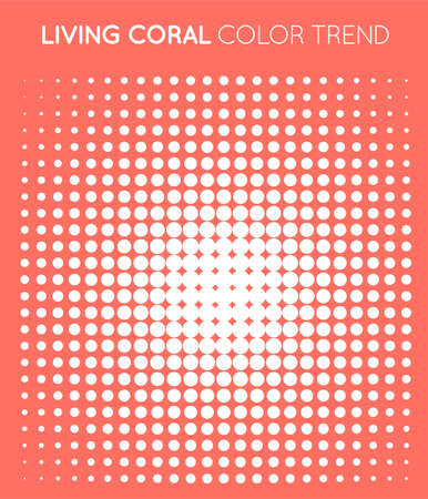 Coral Trendy Color Circle in Halftone, Halftone Dot Pattern, Vector Illustration. Vectores