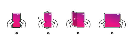 Smart Phone Tablet with Foldable Screen. Step by step folding unfolding manual instructions. Vector Isolated.