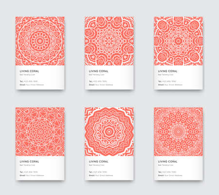 Trendy Color Coral Vector Minimal Graphic Trendy Vertical Abstract Pattern Cards Set Vectores