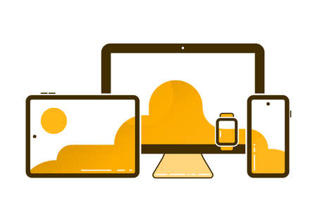 Cross-platform Vector Icons Illustration. Cross Platforming Devices. Smart Tablet, Smartphone, Watch, Desktop with Single Background on the Screen.