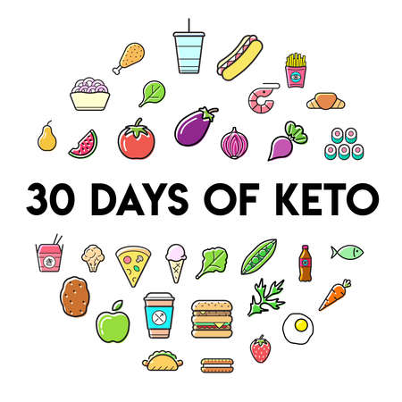 Keto Diet Nutrition Plan Icons with Sign in Circle Shape, Infographic. Vector Illustration Set.