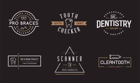 Set of Vector Dental Signs. Template Illustration. Stomatology Graphic Oral Elements.