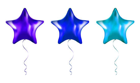 Set of Purple and Blue Star Shaped foil balloons on transparent white background. Party Balloons event design decoration. Mockup for balloon print. Vector.