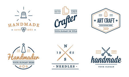 Vector Logo Design. Handmade, DIY, Craft, Tailoring and Knitting.