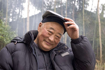 Chinese old man in Sichuan province, China  Banco de Imagens