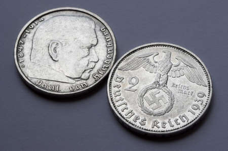 hindenburg: Macro German coin  Hindenburg silver coin made in the second world war  2 mark