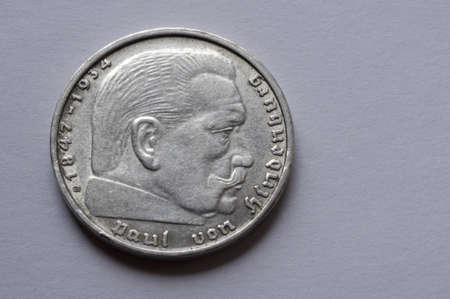Macro German coin  Hindenburg silver coin made in the second world war  2 mark
