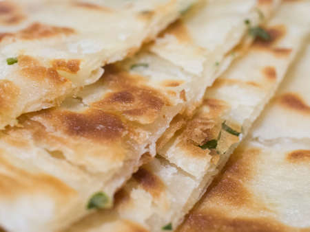 scallion: chinese pie which made by flour, oil, salt and scallion.