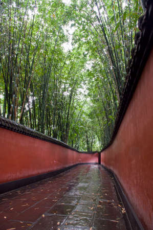 flagging: Path after the rain, bamboo behind the red wall. Shoot at Temple of Wuhou in Chengdu, China.