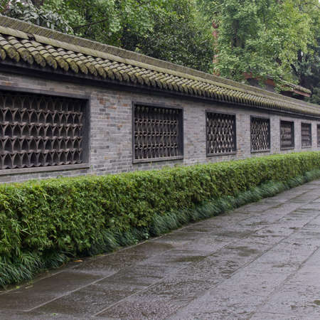flagging: wall, eave and flagging. Enclosure of Wuhou Temple at Chengdu, Sichuan, China.