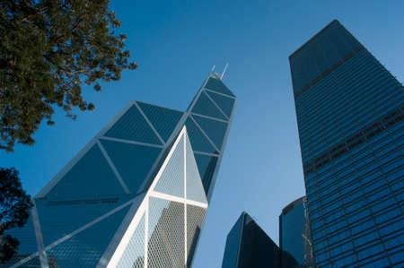 Hong Kong - February 9, 2016: View of Cheung Kong Centre and Bank of China tower. Editorial
