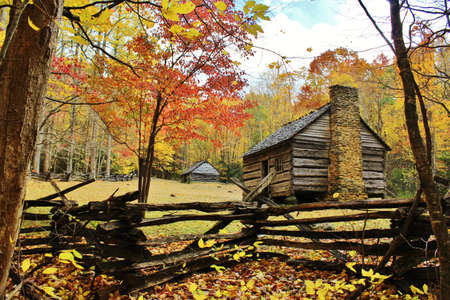 Settler's cabin in Cade's Cove, Great Smoky Mountains National Park