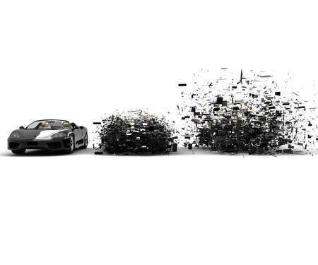 car showroom: A car exploded