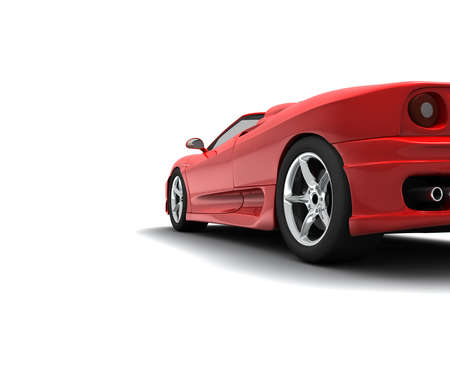 alloy wheel: A back red car Stock Photo