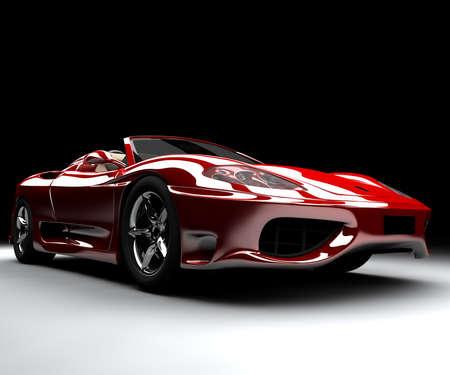 Una macchina rossa anteriore