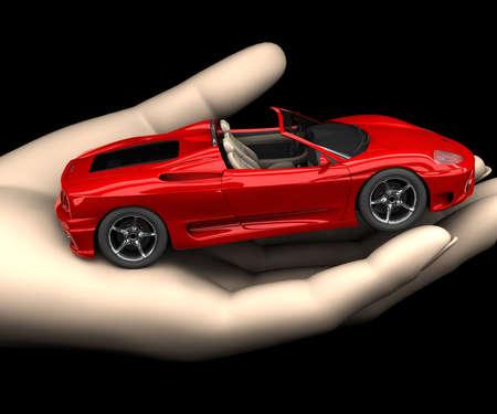 prestige: A little car in a hand Stock Photo