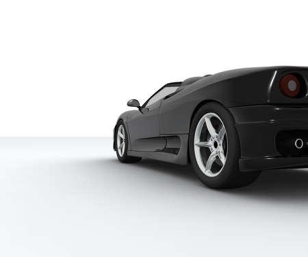 黒のスポーツ車の後ろで見られる