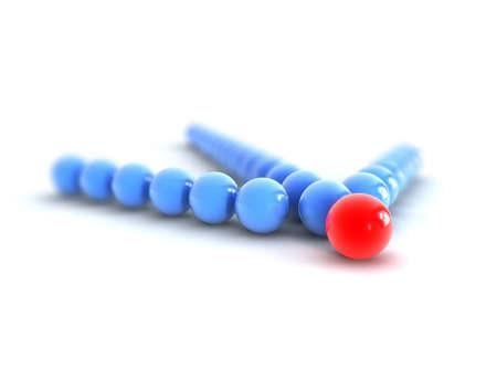 follow the leader: Een blauwe pijl gemaakt van bol met het rode punt