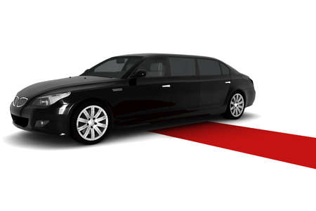 A black limousine with a red carpet