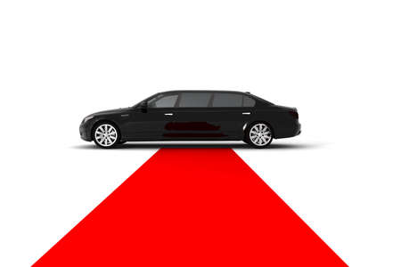 A black limousine with a red carpet photo