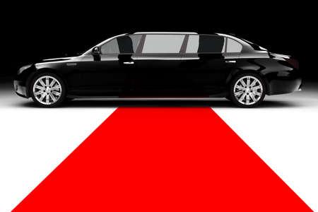 black carpet: A black limousine with a red carpet
