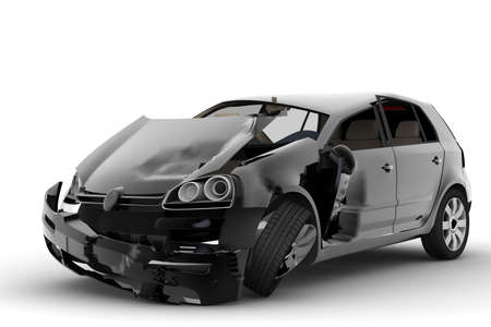 An accident with a black car isolated on white Stock Photo