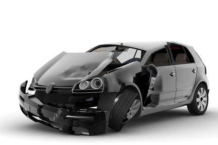 crush on: Un accidente con un coche negro aislado en blanco Foto de archivo