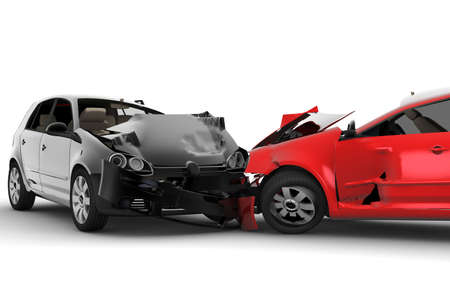 car wreck: A red car and one black crash in an accident