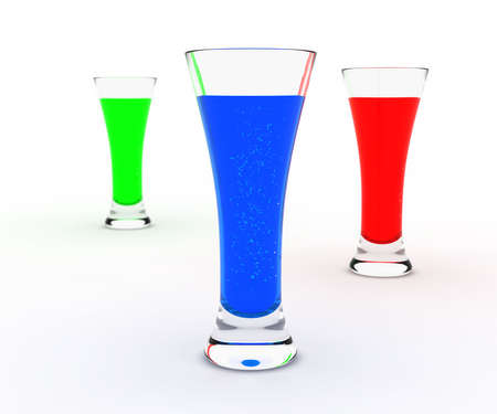 Tre glasses with green, red and blue liqueur isolated on white Stock Photo - 5500809
