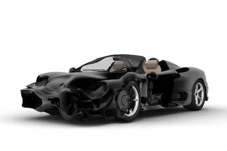 白い背景に黒のスポーツ車の事故