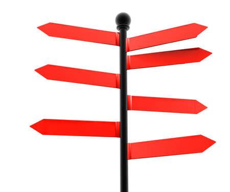 advisory: Seven red advisory on a black pole isolated on white Stock Photo