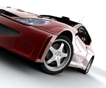 白で隔離される赤いラリー スポーツ車 写真素材