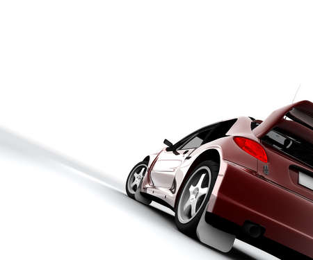 lifelike: A red rally sport car isolated on white