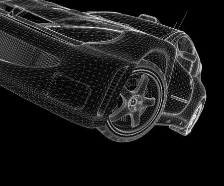 showrooms: A white wireframe car on the black background