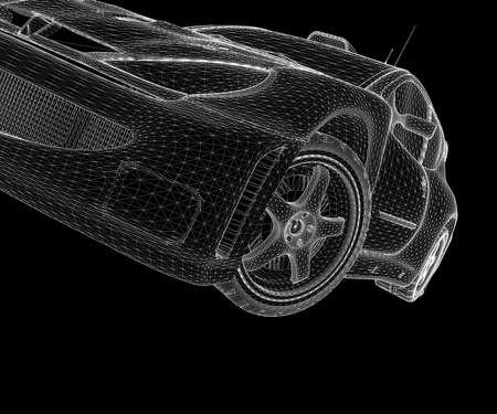 Auto wireframe bianco su sfondo nero