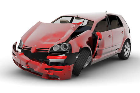 damages: A red car accident isolated on white background Stock Photo