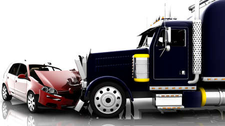 truck on highway: An accident between a red car and a truck