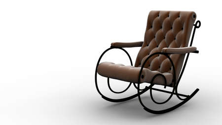 A brown rocking chair isolated on white