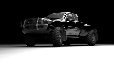 Un pickup nero illuminato e visto di fronte Archivio Fotografico