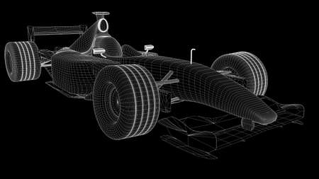 wireframe: A wireframe of a formula one car Stock Photo