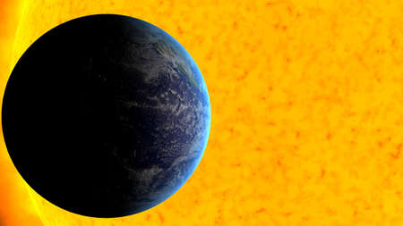 View of the earth with the sun on the background Stock Photo - 6729936